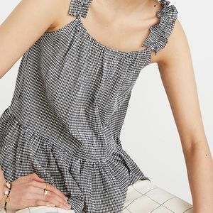 Madewell Ruffle strap Cami in Gingham